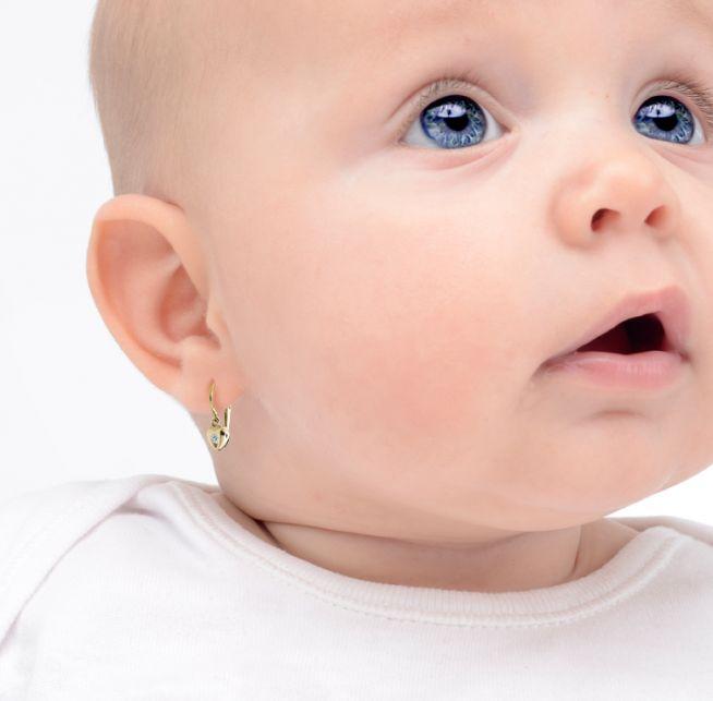 769e0ade4 Náušnice pre bábätká Cutie srdiečka C1556 zo žltého zlata, Amethyst,  zapínanie brizura