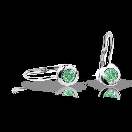 Detské náušnice Danfil C1537 zo bieleho zlata, Emerald Green, zapínanie klapka