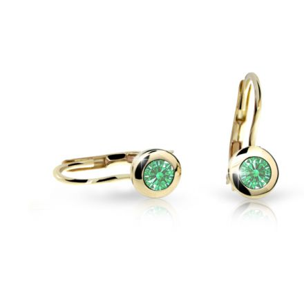 Detské náušnice Danfil C1537 zo žltého zlata, Emerald Green, zapínanie klapka